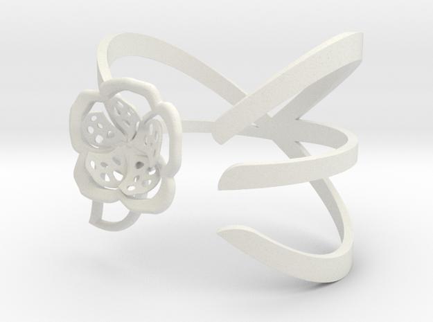 FLOWER BRACELET in White Strong & Flexible: Medium