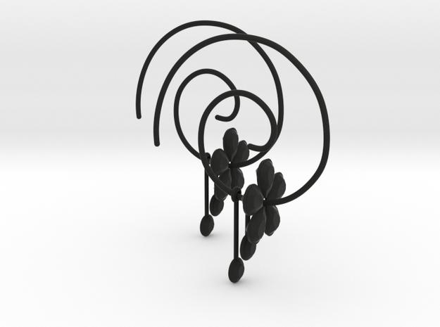 EARRINGS SPIRAL in Black Natural Versatile Plastic