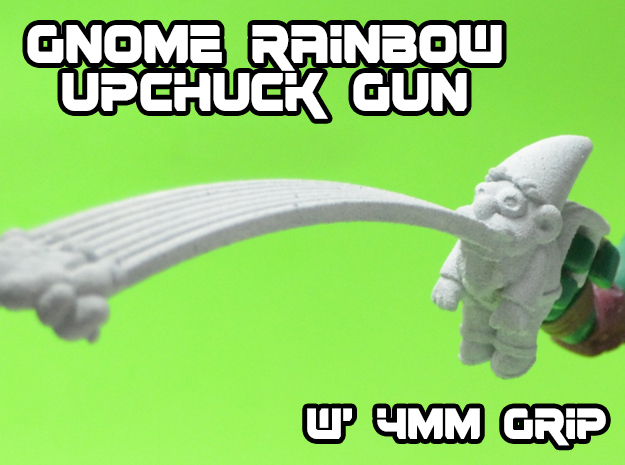 Gnome Rainbow Upchuck-Gun (4mm) in White Strong & Flexible