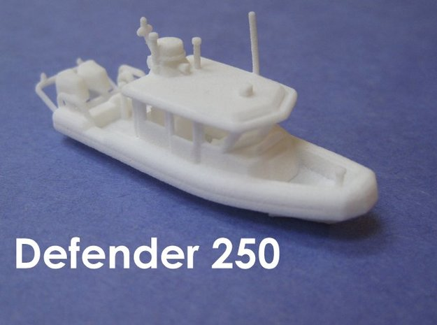 Defender 250 Rigid Inflatable Boat (1:148) in White Strong & Flexible: 1:148