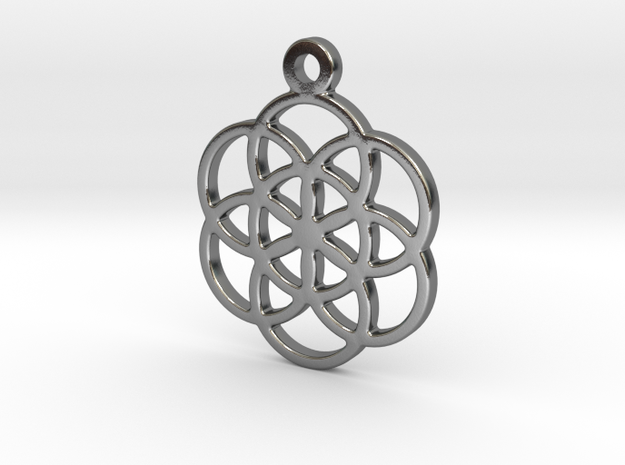 Flower Of Life Pendant in Polished Silver