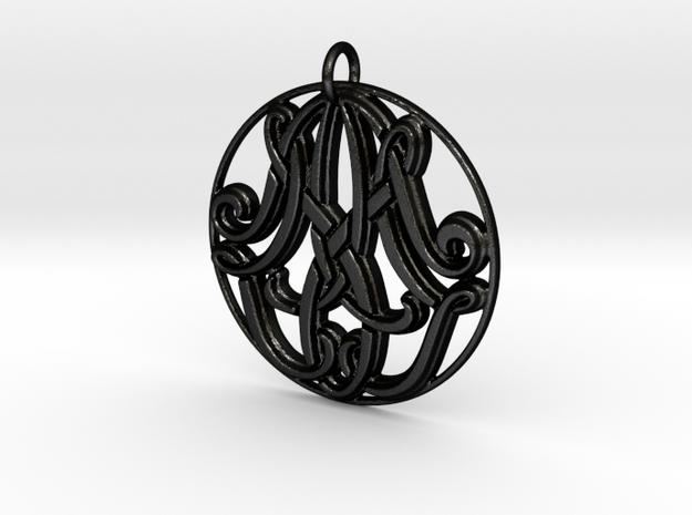 Monogram Initials AAM Pendant in Matte Black Steel