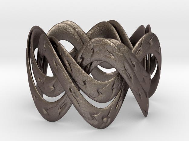 Double Septafoil Bracelet in Polished Bronzed Silver Steel
