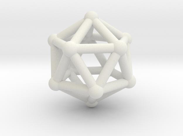 0602 Icosahedron V&E (a=10mm) #002 in White Natural Versatile Plastic