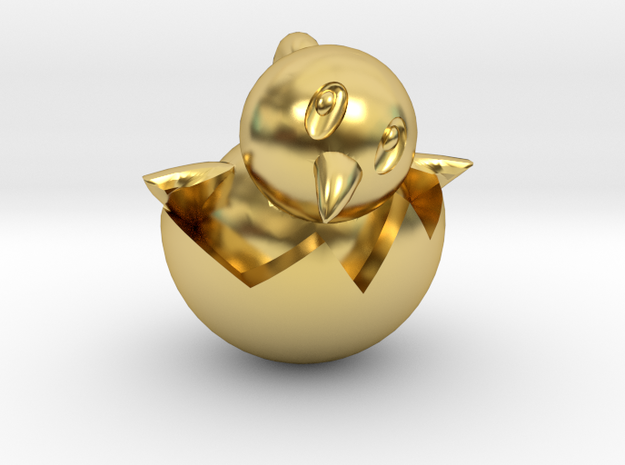 Hatching Chick Emoji Pendant in Polished Brass