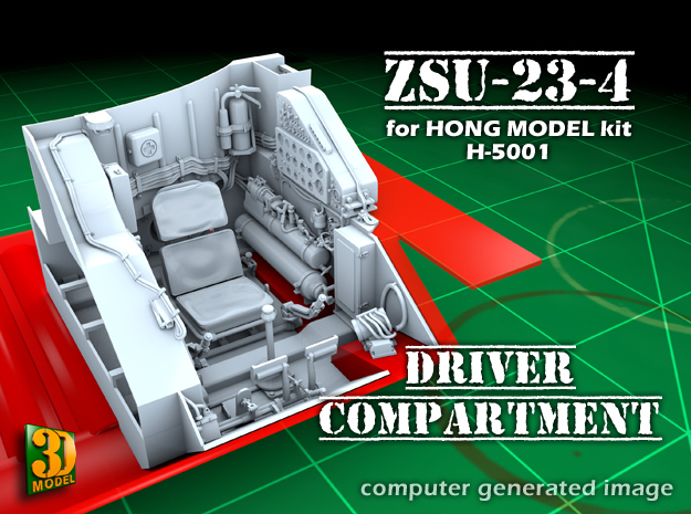 ZSU-23-4 Shilka driver compartment (HONG) in Smooth Fine Detail Plastic