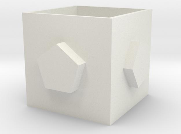 Square pen holder in White Natural Versatile Plastic