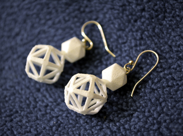 Polyhedron Snowman Earring 3d printed Polyhedron snowman earring pair with silver hooks