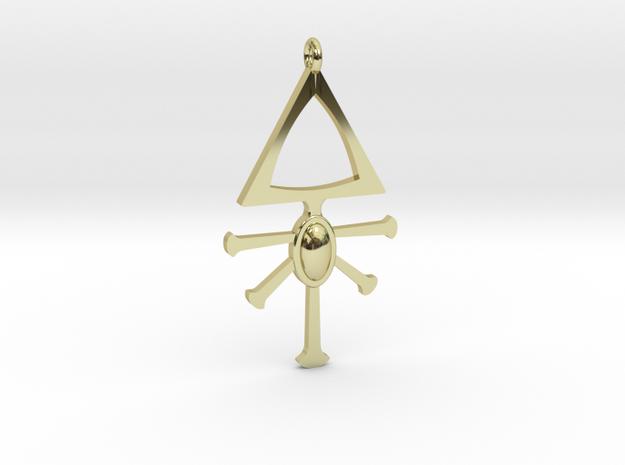 Eldar Rune Pendant 1 in 18k Gold Plated Brass