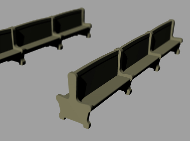 Bench type A - H0 ( 1:87 scale )16 Pcs set  3d printed