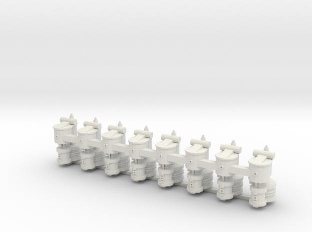 Oo Air Compressor x8 in White Natural Versatile Plastic: 1:76 - OO