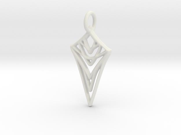 Melting Web Pendant in White Natural Versatile Plastic: Medium