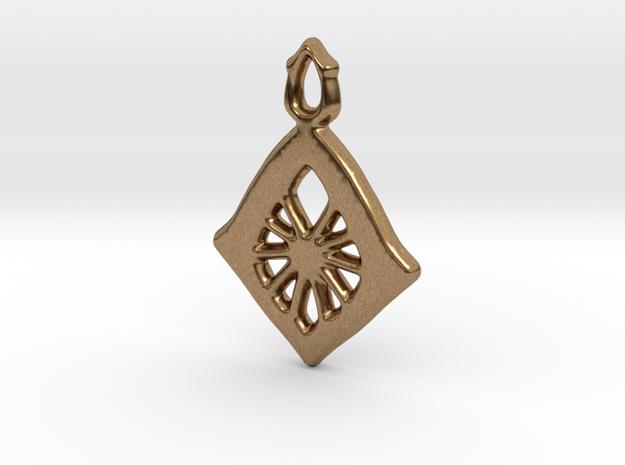 Diamond Web Pendant in Raw Brass: Small