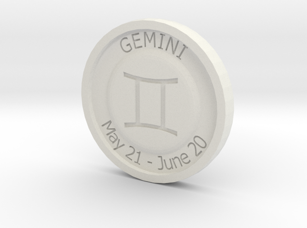Gemini Coin in White Strong & Flexible