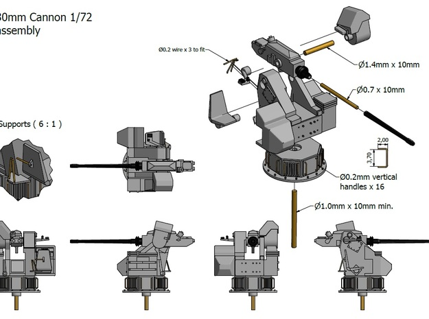 30mm Cannon kit x 2 - 1/72 3d printed