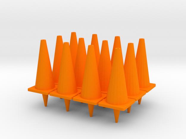 """TC2, Traffic Cones, 1"""" Tall, 12 pcs in Orange Processed Versatile Plastic"""