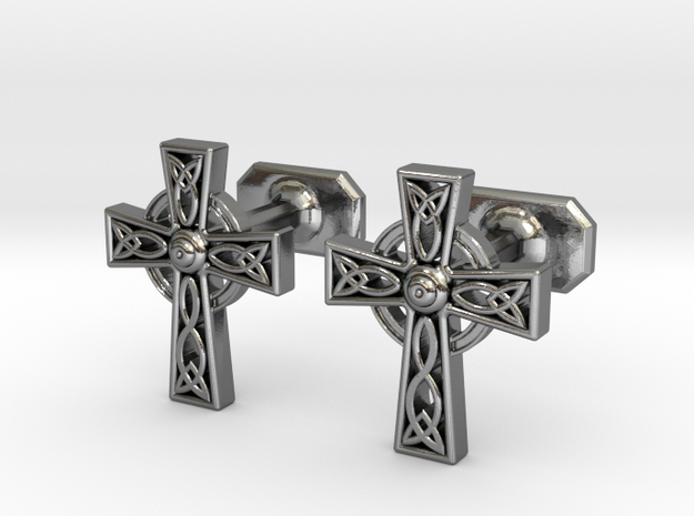 Celtic Cross Cufflinks in Polished Silver