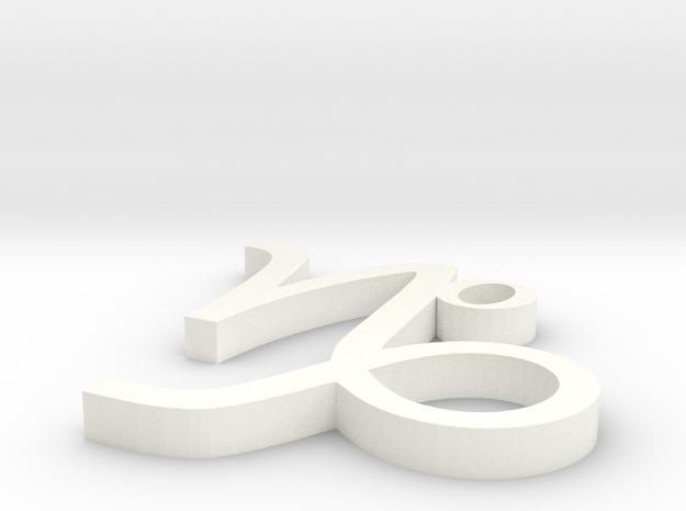 Capricorn Pendant in White Processed Versatile Plastic