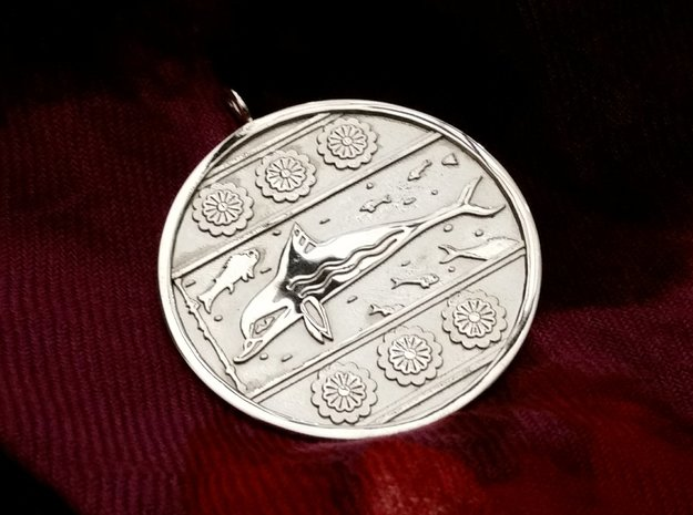 Minoan Dolphin Pendent 1 in Polished Silver