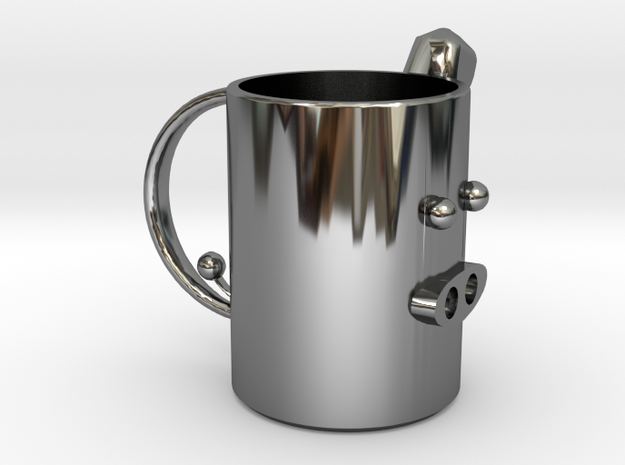 pig mug .stl in Fine Detail Polished Silver