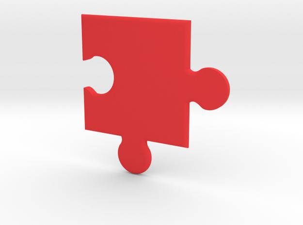 Puzzle coasters in Red Processed Versatile Plastic