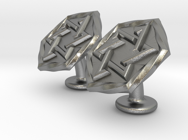 Magen David Cufflinks in Raw Silver