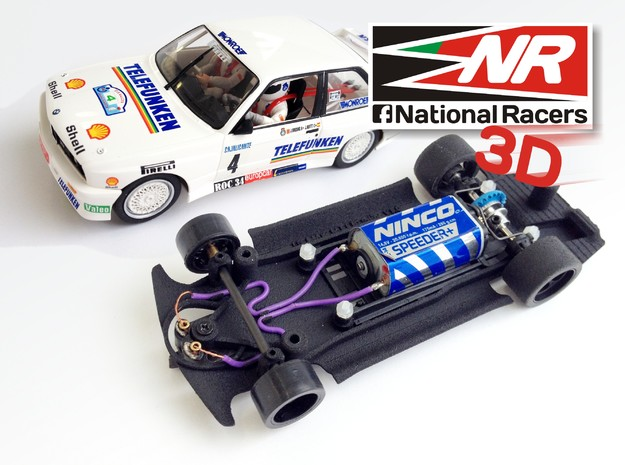 3D chassis for Fly M3 E30 (Inline) in Black Natural Versatile Plastic