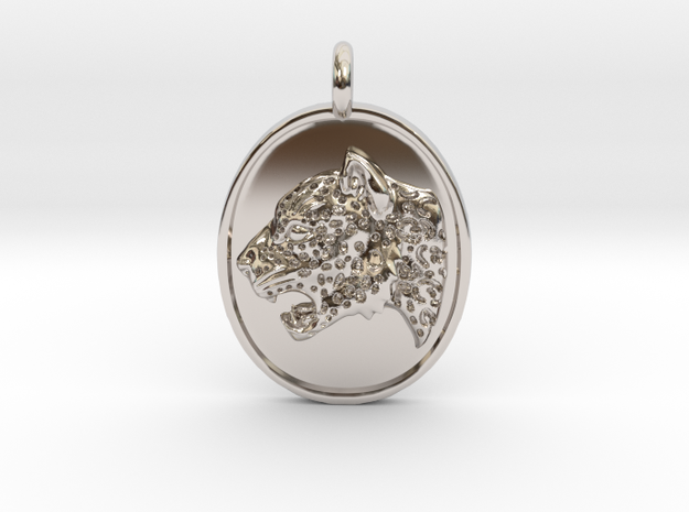Jaguar Pendant in Rhodium Plated Brass