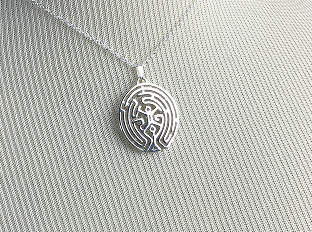 Westworld Maze Pendant in Polished Silver