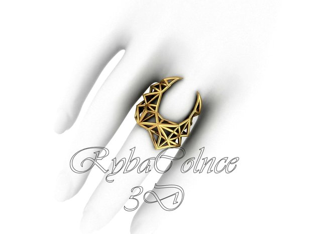 Ring The Gravity / size 5US ( 16.1 mm) in Polished Brass