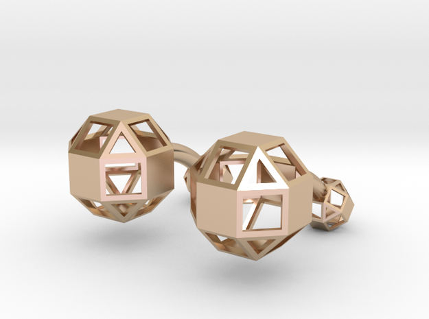 Rhombicuboctahedron cufflinks in 14k Rose Gold Plated Brass