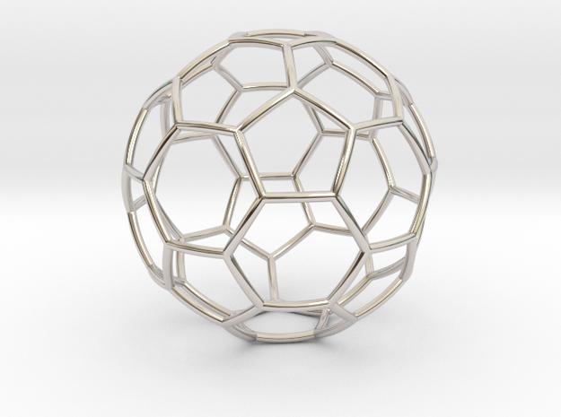 Fussball Anhänger in Rhodium Plated Brass