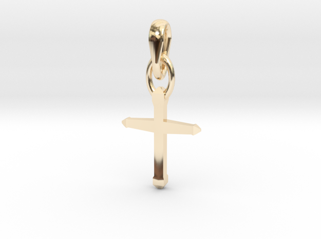 Design Cross Shaped Pendant in 14K Yellow Gold