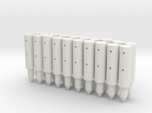 BP2-20, Round Cable Barrier Posts, 20 pcs in White Strong & Flexible