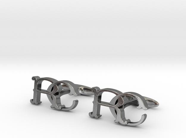 Monogram cufflinks 'RC' in Fine Detail Polished Silver