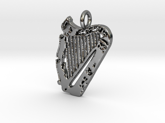Harp Pendant in Fine Detail Polished Silver