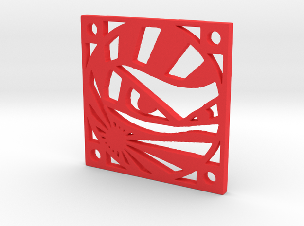 "Fan Grille 30x30mm ""Niinja!!!"" in Red Processed Versatile Plastic"