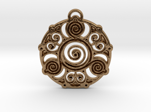 Ancient Wisdom Pendant in Natural Brass