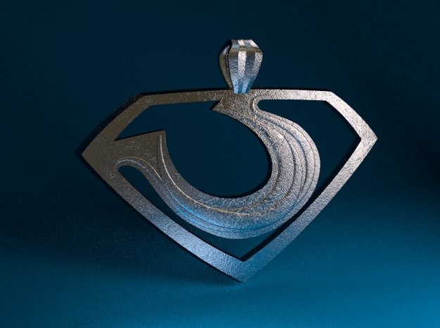 "Zod ""Man of Steel"" Pendant 3d printed Stainless Steel Render"