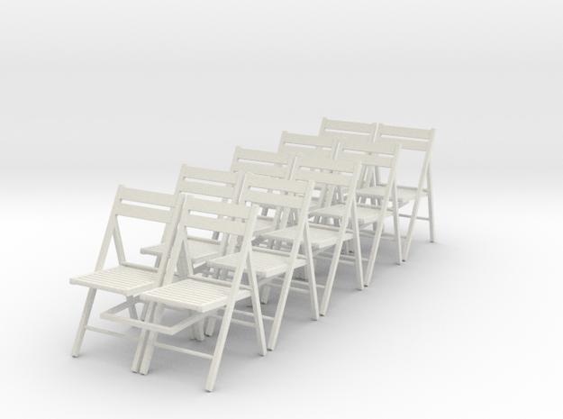 10 1:24 Wooden Folding Chairs in White Natural Versatile Plastic