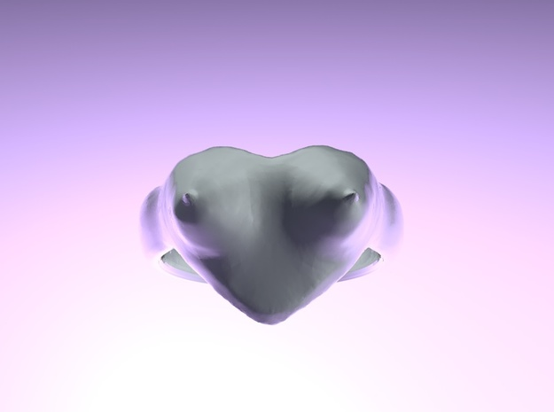 "heart ring ""Polena"" 3d printed"