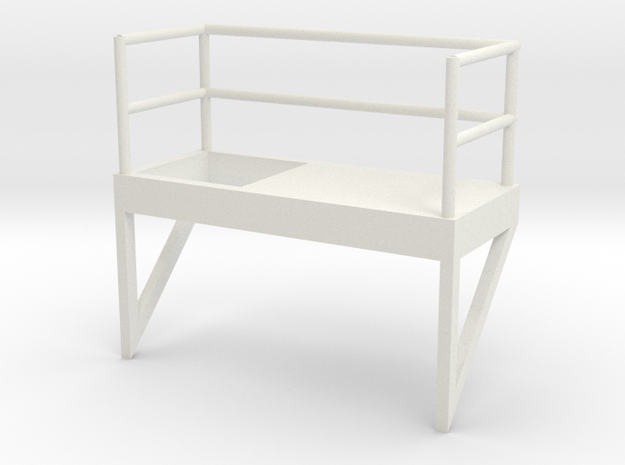 'S Scale' - 8' W - Ladder Platform, Right Opening in White Natural Versatile Plastic