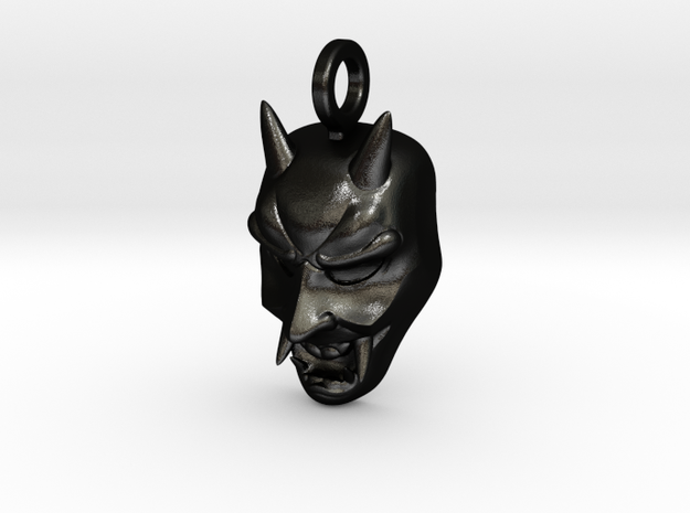 Hannya Oni Mask in Matte Black Steel