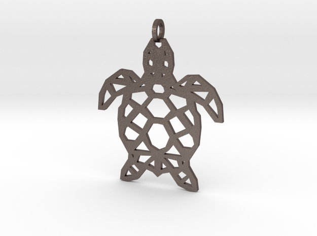 Geometric Turle Necklace in Polished Bronzed Silver Steel
