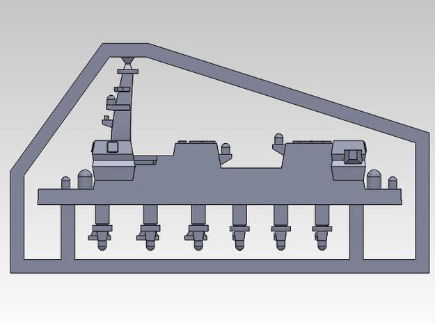 1:3000 multipart 22DDH Izumo - Details 3d printed COMPLETE SPRUE WITH SUPERSTRUCTURE, 3 PHALANX & 3 SEA RAM