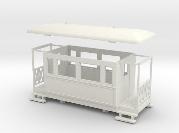 OO9 4w Tramway coach in White Natural Versatile Plastic
