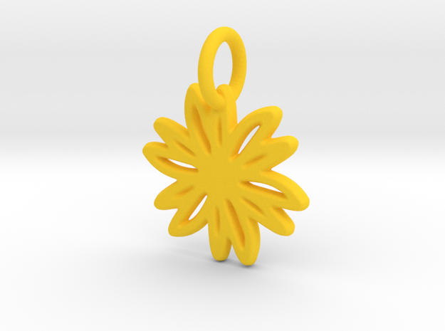 Daisy Pendant/Charm - 24mm, 20mm, 16mm, 12mm in Yellow Strong & Flexible Polished: Medium