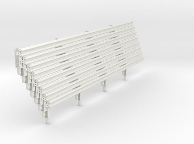 Armco Rail on 4  I-Beam Posts, 8 pcs in White Natural Versatile Plastic