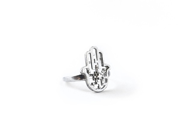 Hamsa Ring in Polished Silver
