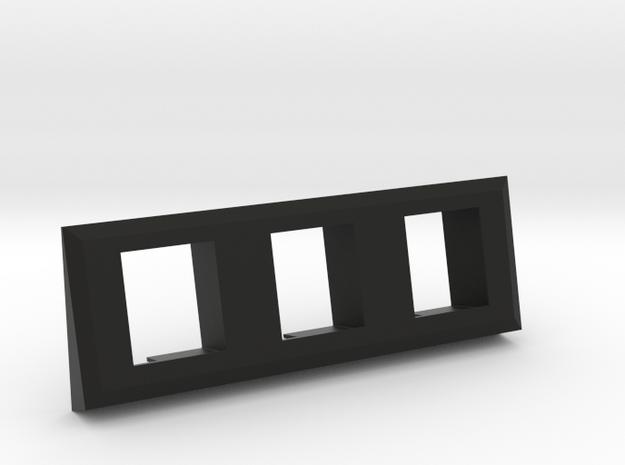 3 Coin Bezel (3 Coin Wide) - Pinball Coin Door in Black Natural Versatile Plastic